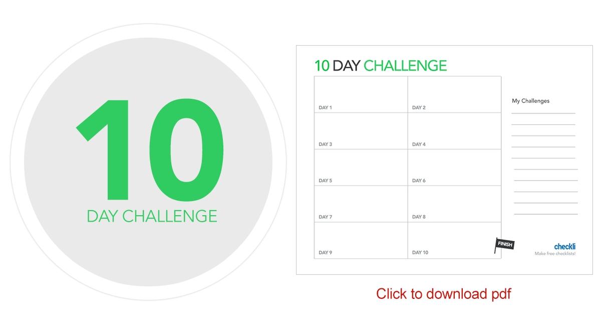 10-Day-Challenge - Checkli inside 10 Day Calendar