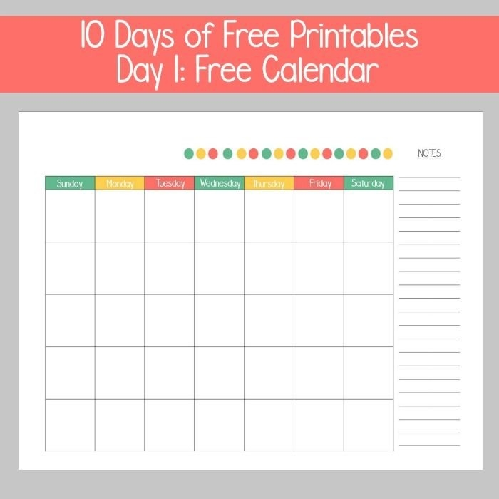 10 Days Of Printables - Day 1: Free Calendar | Free Calendar with regard to 10 Day Calendar Graphics