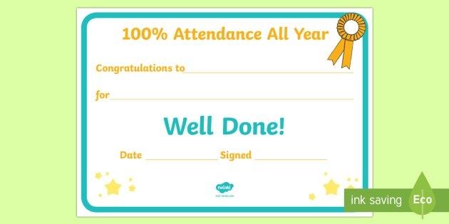 100% Attendance All Year Editable Certificate (Teacher Made) throughout Editable Attendance Calendar For Teachers Photo