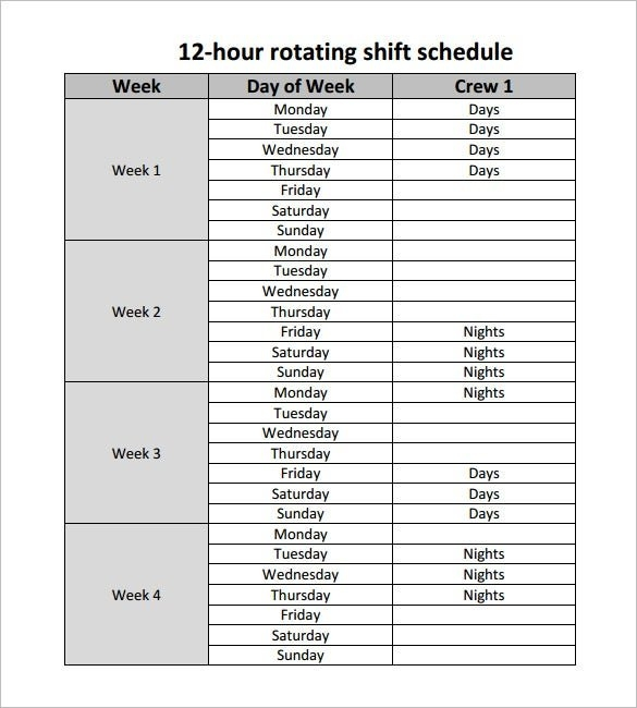 11 Hour Shift Schedule Template - 11+ Free Word, Excel, Pdf with regard to Printable Monday Through Sunday With Day And Night Shift Graphics