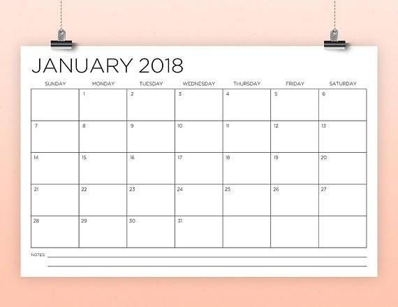 11 X 17 Inch 2018 Calendar Template | Instant Download regarding Free Printable 11 X 17Calendar
