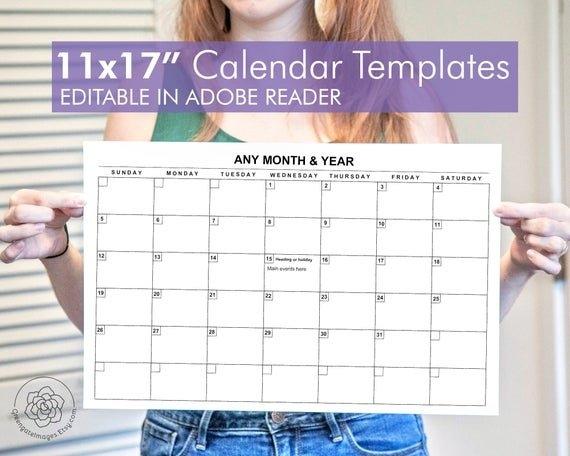 11X17 Calendar Template - Editable Landscape Calendar, Any Month, A3  Tabloid Ledger Paper, Large Printable Calendar, Fillable Pdf, Monthly within Free Printable 11 X 17Calendar Image