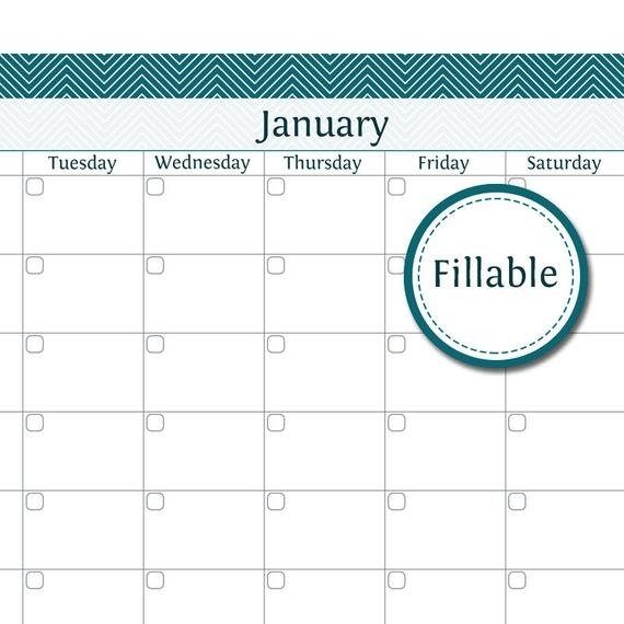 12 Month Calendar - Fillable - Printable Pdf - Instant Download intended for Fillable 12 Month Calendar