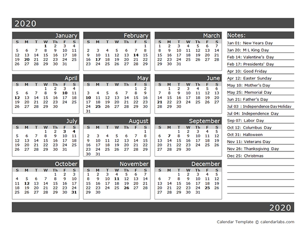 12-Month One Page Calendar Template For 2020 - Free in One Page Calendar