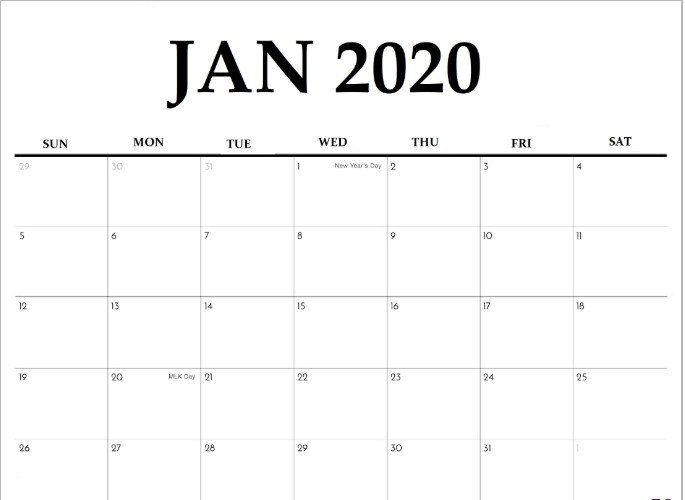15+ Free Blank January 2020 Fillable Calendar Template To with Printable Calendar Large Spaces