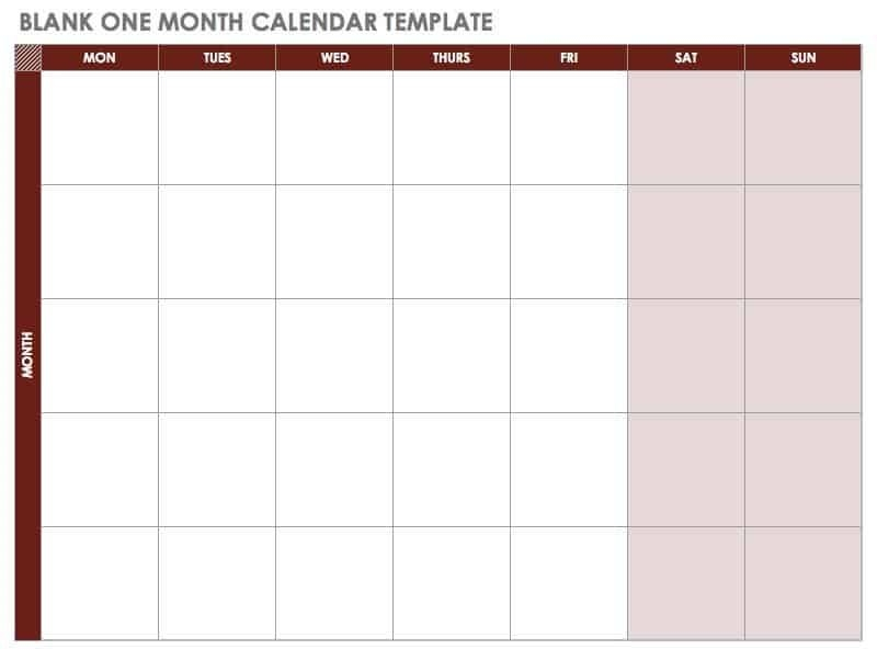 15 Free Monthly Calendar Templates | Smartsheet with regard to Blank Monthly Calendar Printable Image