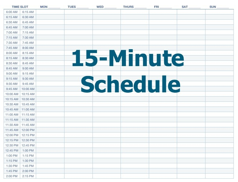 15 Minutes Makes All The Difference regarding Printable Weekly Calendar With 15 Minute Time Slots