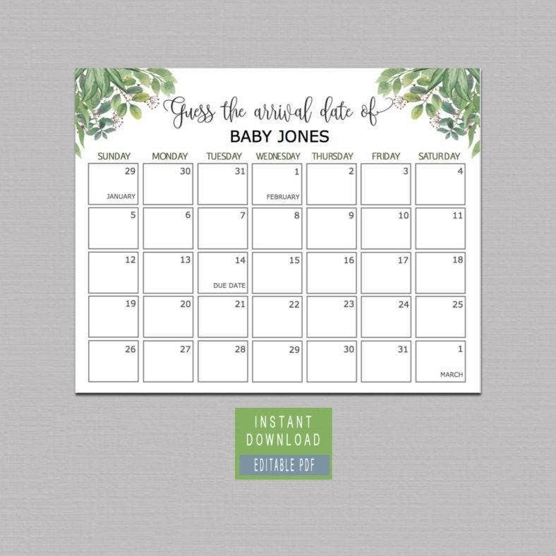 15+ Printable Birthday Calendar Templates - Pdf, Eps Vector regarding Guess The Due Date Template Image