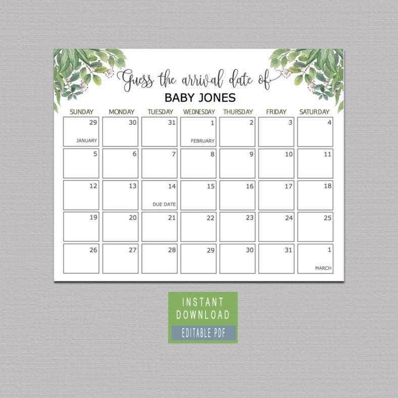 15+ Printable Birthday Calendar Templates - Pdf, Eps Vector throughout Printable Baby Due Date Template