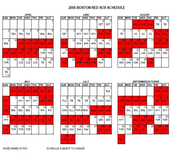 2006 Schedule, Prices | Boston throughout Red Sox Calendar Schedule Graphics