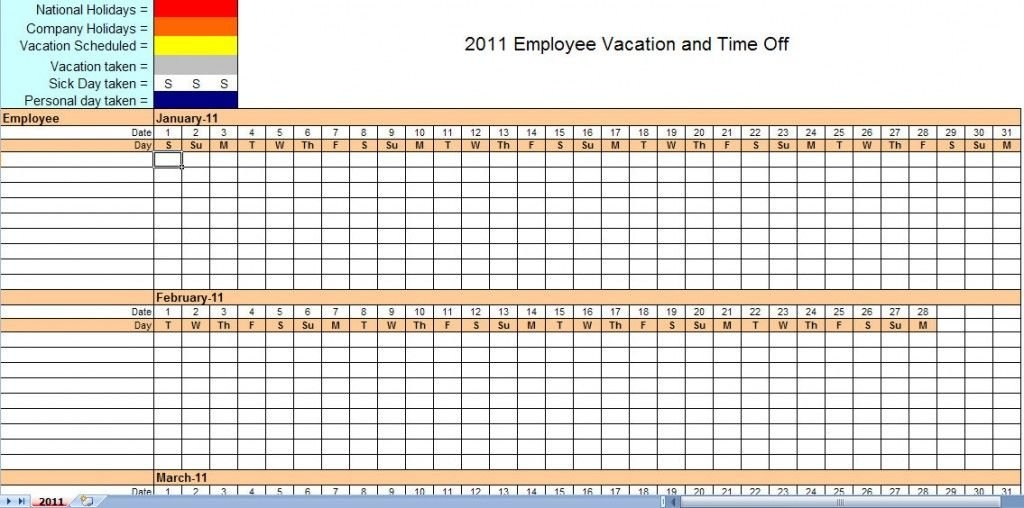 2011 Employee Vacation Calendar | Vacation Calendar Template throughout Calendar Template For Employees Signing Up For Vacation Photo
