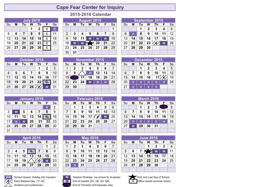 2015-2016 Calendar – Cape Fear Center For Inquiry inside Depo Provera Calendar Schedule Image