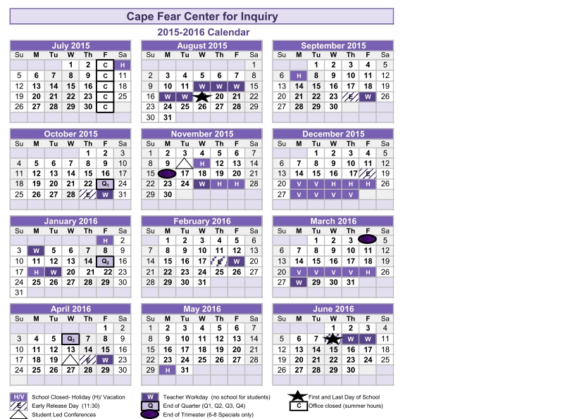 2015-2016 Calendar – Cape Fear Center For Inquiry throughout 2020 Leap Year Depo Provera Calendar