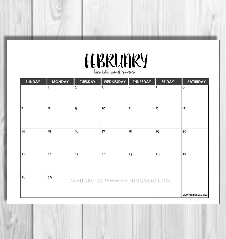 2016 Monthly Calendars {Minimalist Design!} throughout Understated Calendar Photo
