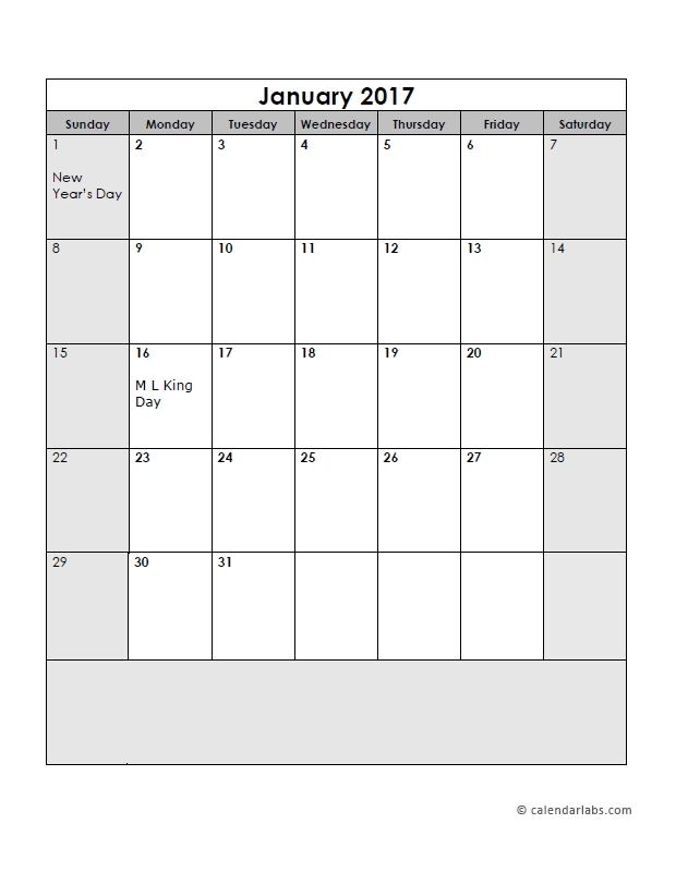 2017 Calendar Template Large Boxes - Free Printable Templates regarding Printable Calendar Large Spaces Image