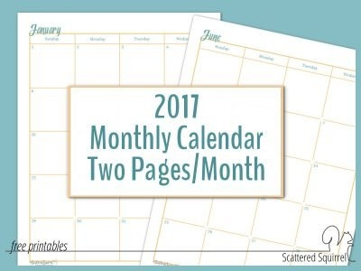 2017 Full-Size Monthly Calendars Two Pages Per Month regarding Free Prntable Calander Two Page Spread Graphics