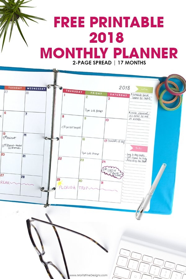 2018 Monthly Planner | Free Printable Calendar, 2-Page Spread with Free Prntable Calander Two Page Spread Graphics