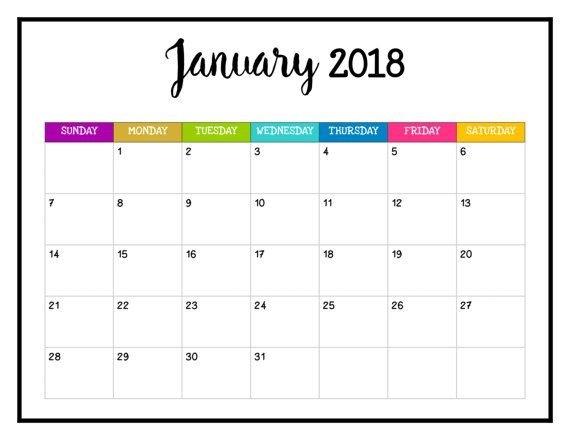 2018 Printable Calendar 2018 Wall Calendar 8 1/2 X 11 Happy intended for Printable Monthly Calendar 8 1/2 X 11