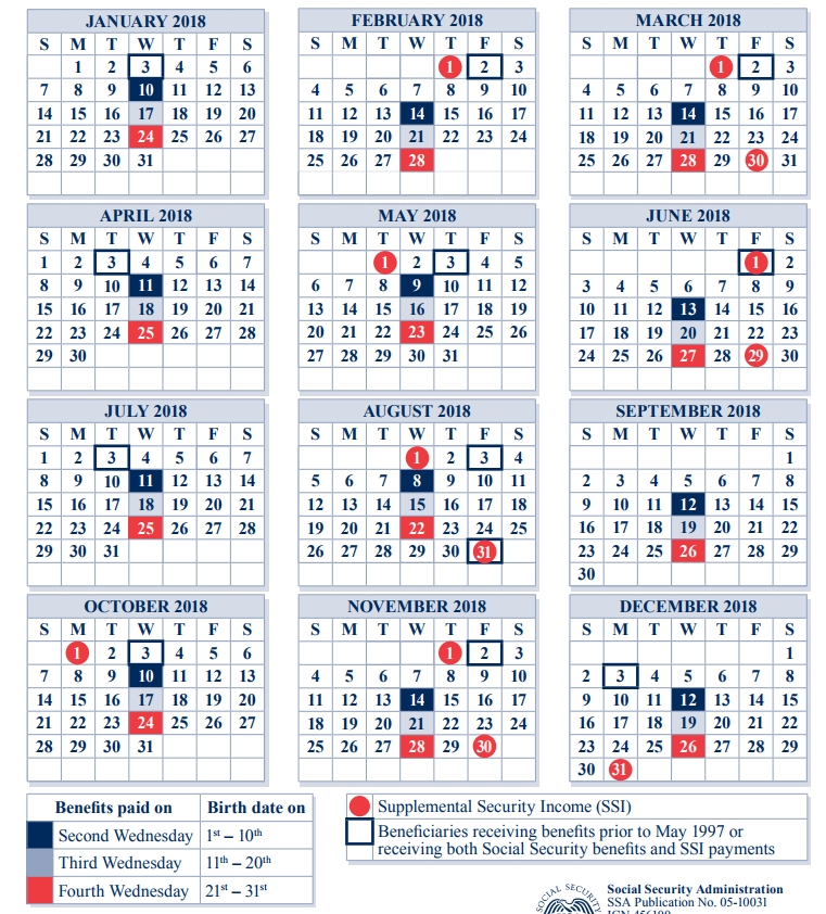 2018 Social Security Payment Schedule | Payment Schedule in Pdf Ssi Calendar