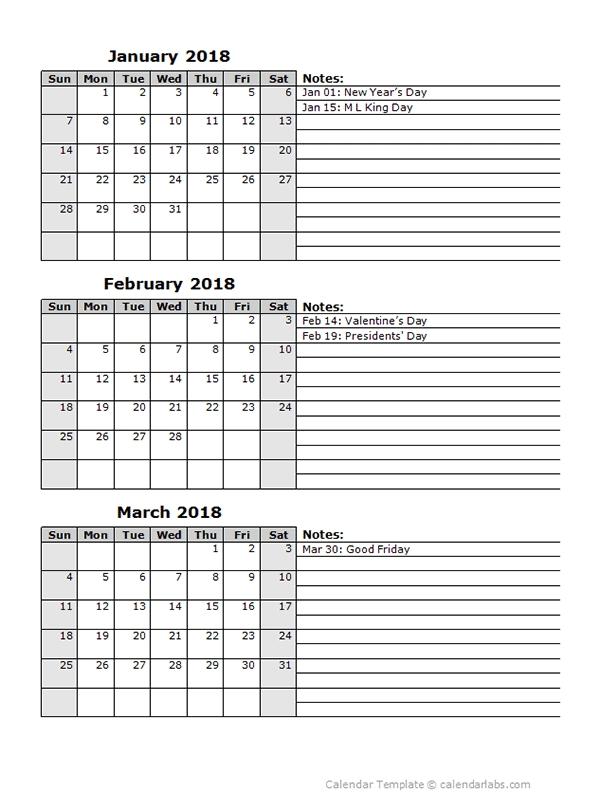 2018 Three Month Calendar Template - Free Printable Templates in Three Month Calendar Template Word