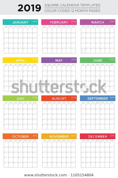 2019 12 Month Color Coded Calendar Stock Vector (Royalty in Color Coded Calendar Months