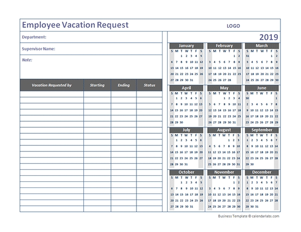 2019 Business Employee Vacation Request - Free Printable regarding Calendar Template For Employees Signing Up For Vacation Photo