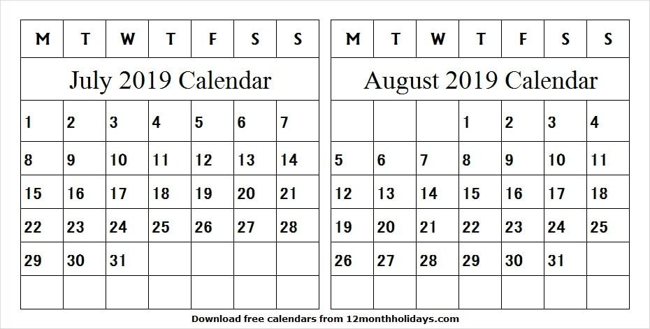 2019 Calendar July And August Fillable | Blank Two Month pertaining to Fillable 12 Month Calendar Graphics