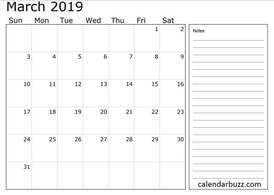 2019 Calendar With Notes Section | 2019 Calendar, Calendar inside Calendars You Can Write In Graphics