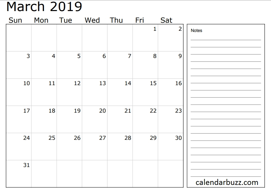 2019 Calendar With Notes Section | 2019 Calendar, Calendar with Calenders That You Can Write In