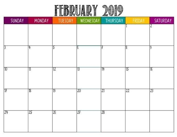 2019 Lifesaver Large Square Fun Printable Monthly Planner with Large Square Calendar