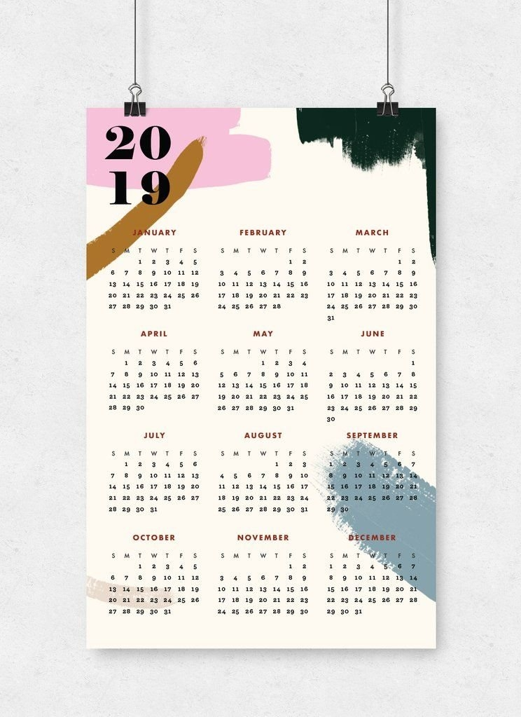 2019 Modern Abstract Wall Calendar | 11X17 | Wall Calendar with regard to 11 X 17 Calendar