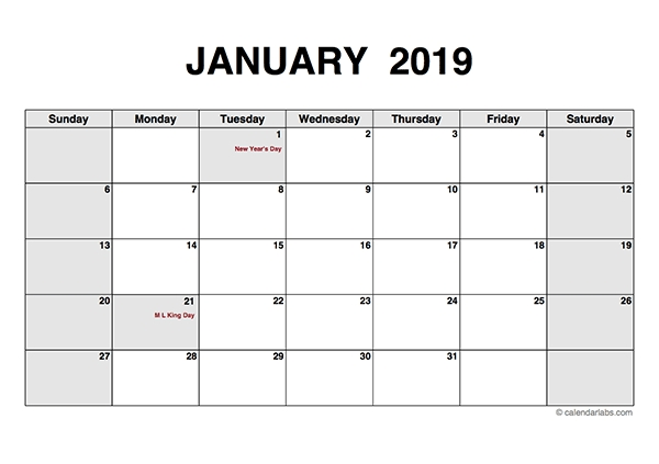 2019 Monthly Calendar Pdf - Free Printable Templates with Sunday Through Saturday Calendar Pdf
