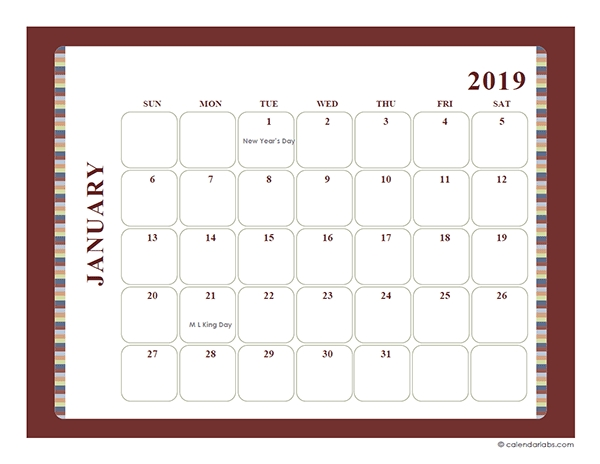 2019 Monthly Calendar Template Large Boxes - Free Printable in Large Square Calendar