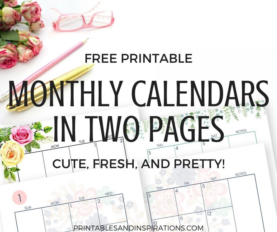 2019 Monthly Calendar Two Page Spread - Free Printable throughout Free Prntable Calander Two Page Spread