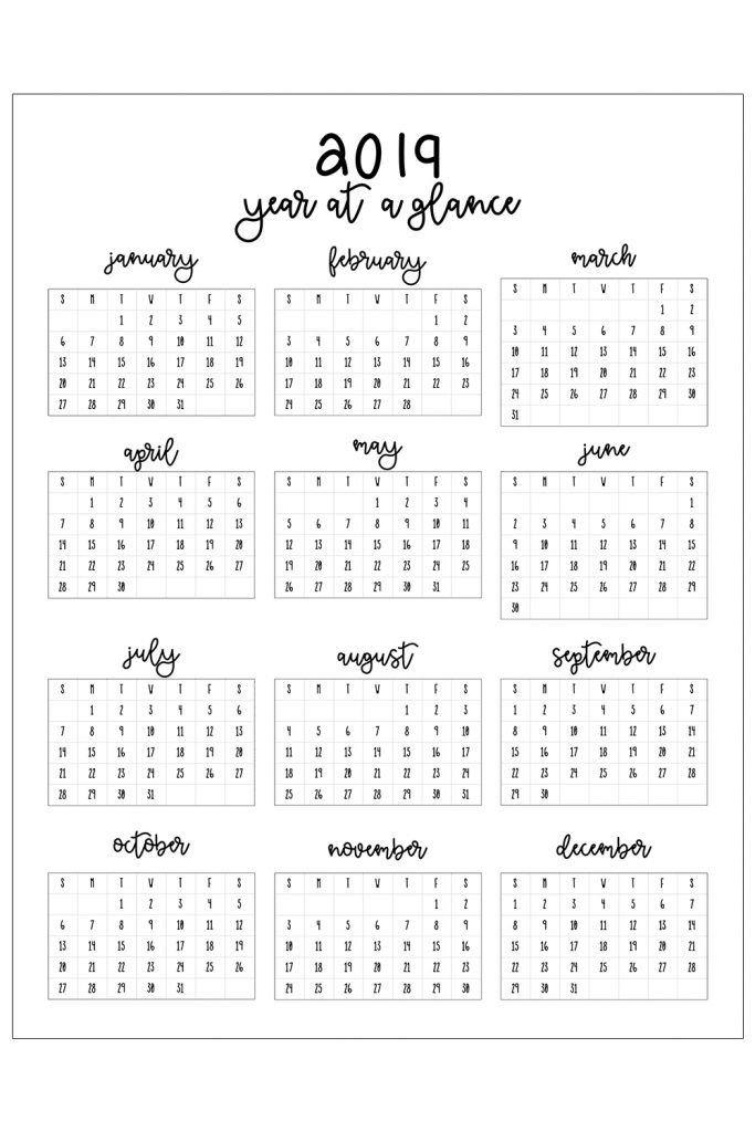 2019 Printable Calendar | Printable Calendar Design in Free Calendar Templates Printable 11In By 17 In