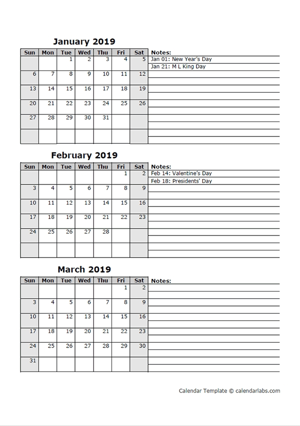 2019 Three Month Calendar Template - Free Printable Templates in Free Triple Month Calendar