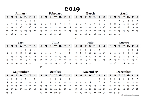 2019 Yearly Blank Calendar Template - Free Printable Templates in 11 By 17 Calendar Template