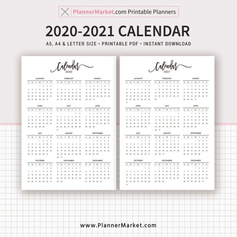 2020-2021 Calendar Printable, Year At A Glance, Filofax A5 intended for Calendar Lottery Template Graphics