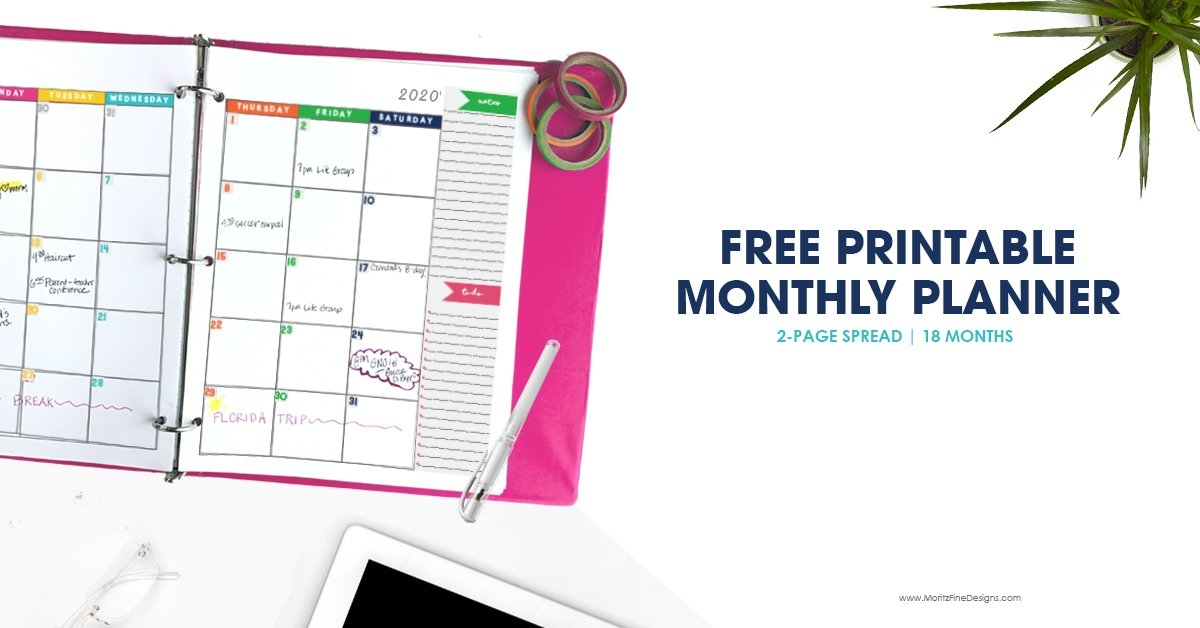 2020-2021 Monthly Calendar Planner | Free Printable Calendar with Free Prntable Calander Two Page Spread Graphics