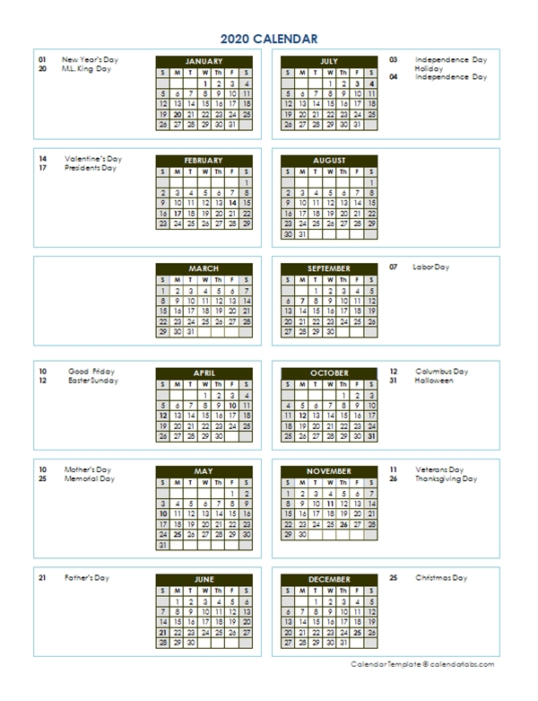 2020 Annual Calendar Vertical Template - Free Printable inside Calendar Template Vertical
