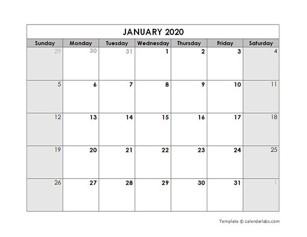 2020 Blank Monthly Calendar - Free Printable Templates within Printable Monthly Calendar 2020 Graphics
