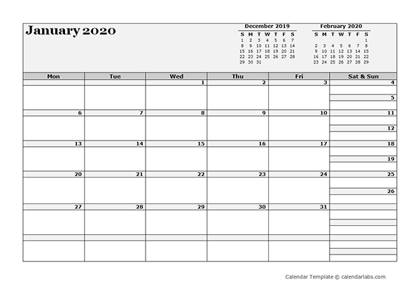 2020 Blank Three Month Calendar - Free Printable Templates in Monthly Calendar Printable Image