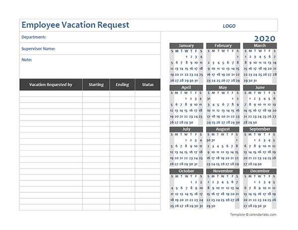 2020 Business Employee Vacation Request - Free Printable with Time Off Calendar Excel Graphics