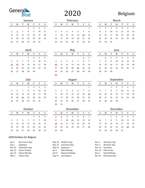 2020 Calendar - Belgium With Holidays throughout 01 2020 Calendar To Print
