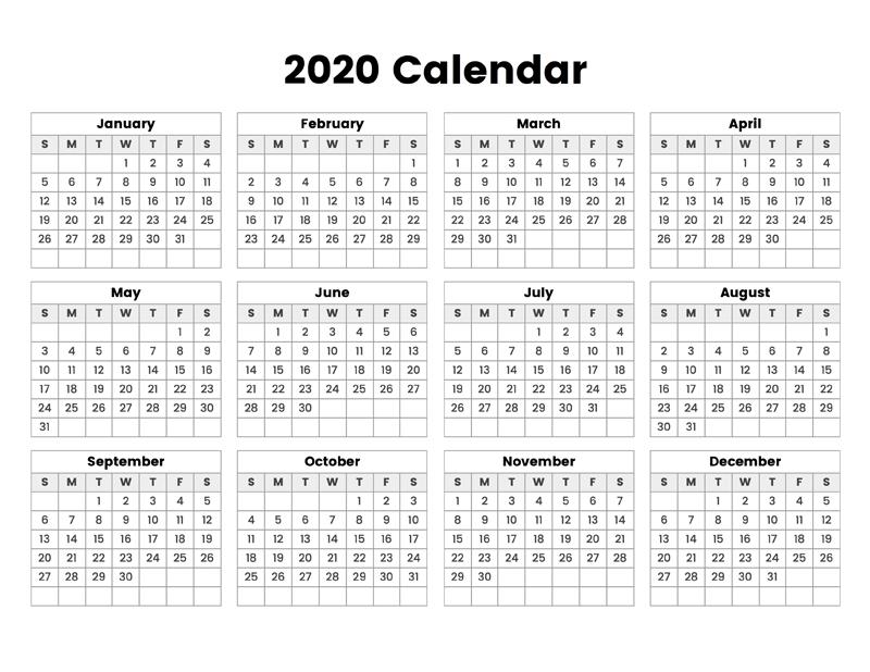 2020 Calendar – Calendar Options throughout 2020 Calendar Pdf
