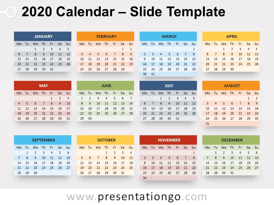 2020 Calendar For Powerpoint And Google Slides with Calendar Photo