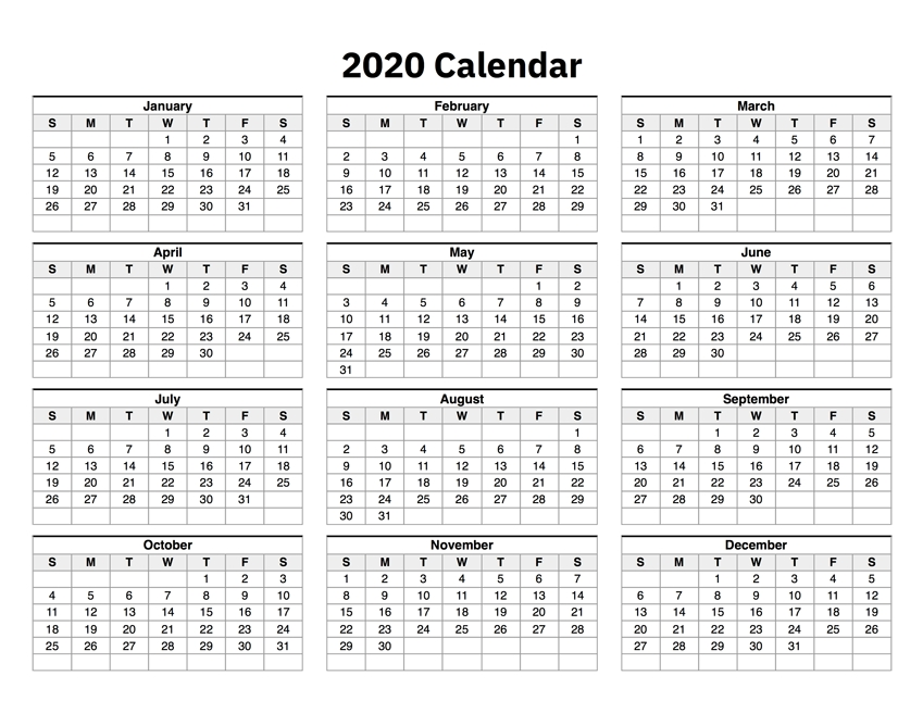 2020 Calendar One Page pertaining to One Page Calendar