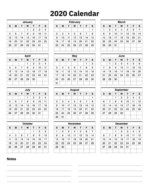2020 Calendar One Page With Notes inside One Page Calendar Image