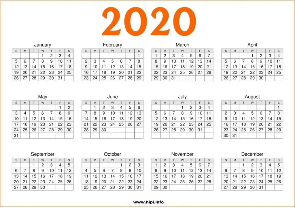 2020 Calendar Printable Free One Page - Free Download - Hipi intended for One Page Calendar Image