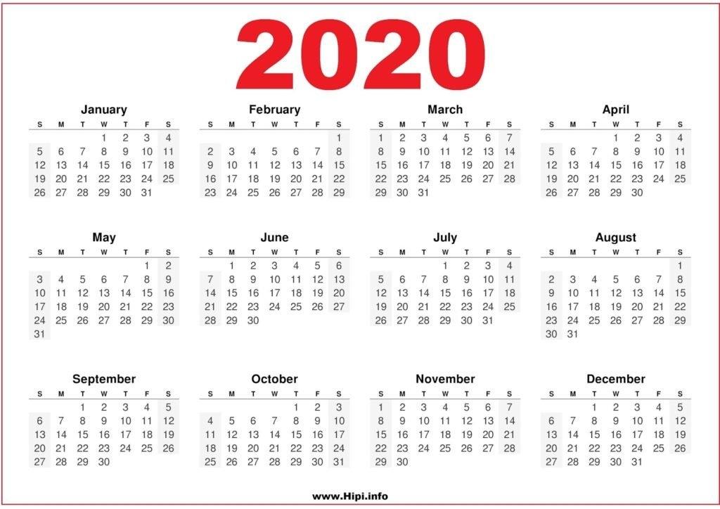 2020 Calendar Printable Free Pdf - Free Download Pdf - Hipi throughout 2020 Calendar Pdf Graphics